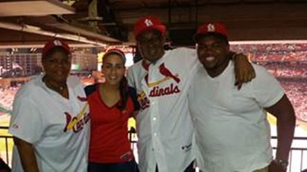 Patient Curtis Bryant and family at Cardinals Game